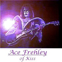 Image of Ace Frehley of Kiss playing guitar.