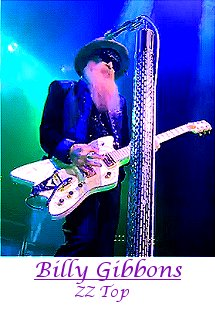 Image of Billy Gibbons of ZZ Top playing guitar.