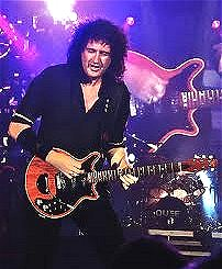 Image of Brian May of Queen in concert.