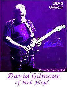 David Gilmour of Pink Floyd playing guitar.