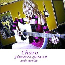Image of flamenco guitarist Charo playing guitar.