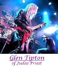 Image of Glen Tipton of Judas Priest playing guitar.