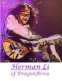 Image of Herman Li of DragonForce playing guitar.