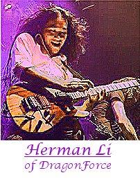 Image of Herman Li of DragonForce playing guitar.