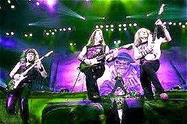 Image of Iron Maiden in concert.