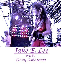 Image of Jake E. Lee playing guitar with Ozzy Osbourne.