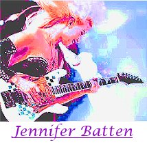 Image of Jennifer Batten, guitarist for Michael Jackson, playing guitar.