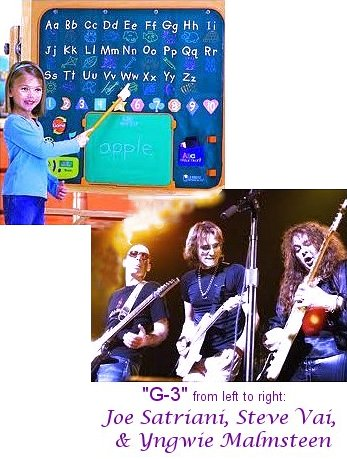 Image of G-3, consisting of virtuoso guitarists Joe Satriani, Steve Vai, & Yngwie Malmsteen. They learned their ABC's, & now they are playing guitar.