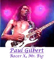 Image of Paul Gilbert (Racer X, Mr Big) playing guitar.