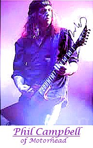 Image of Philip Campbell of Motorhead playing guitar.