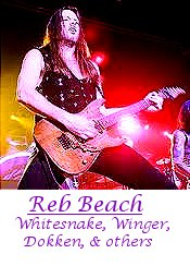 Image of Reb Beach of Whitesnake, Winger, Dokken, & others playing guitar.
