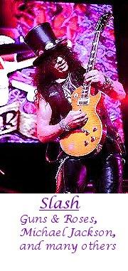 Slash of Guns & Roses playing guitar.