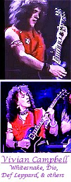 Image of Vivian Campbell of Def Leppard, Whitesnake, Dio, & others playing guitar.